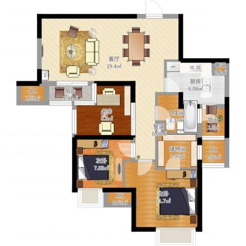 盘古天地3室1厅1卫1厨95.00㎡户型图