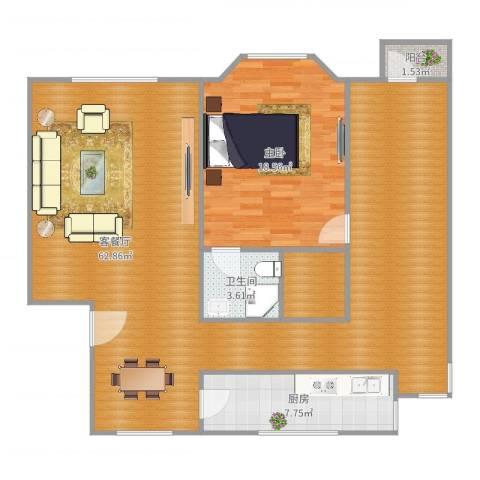 仙岳山庄1室2厅1卫1厨122.00㎡户型图