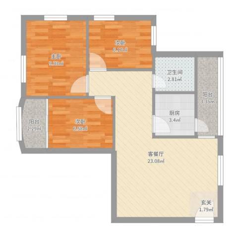 龙珠花园3室2厅1卫1厨71.00㎡户型图