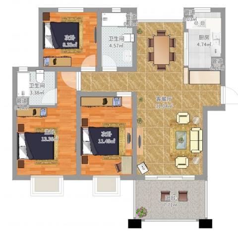 中星・外滩印象花园3室2厅2卫1厨106.00㎡户型图