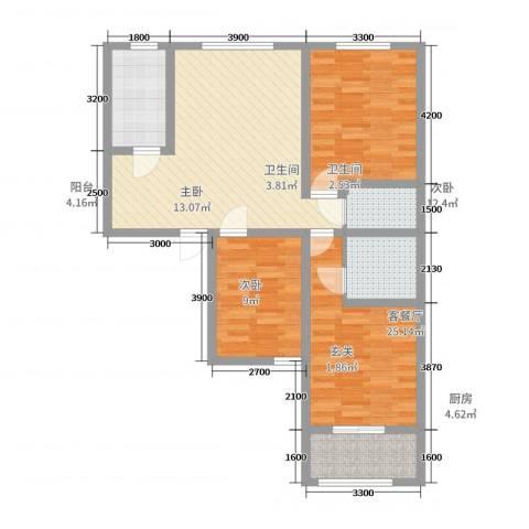 园丁小区3室2厅2卫1厨107.00㎡户型图