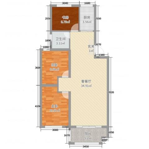 宏宸欧缘3室2厅1卫1厨91.00㎡户型图