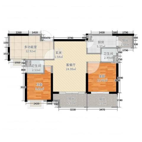锦绣国际花城2室2厅2卫1厨103.00㎡户型图