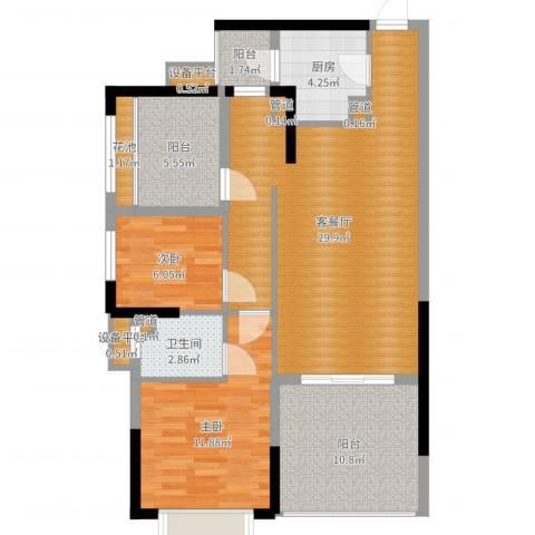 龙光城2室2厅1卫1厨95.00㎡户型图