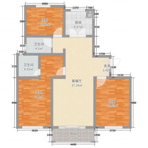 如意里3室2厅2卫1厨133.00㎡户型图