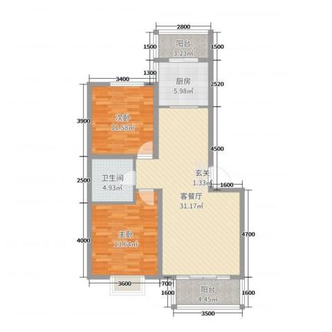 嘉晟阳光城2室2厅1卫1厨103.00㎡户型图