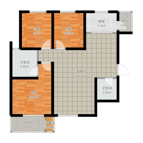 高新大都荟3室2厅2卫1厨111.00㎡户型图