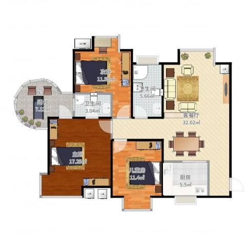 易道郡玫瑰公馆3室2厅2卫1厨117.00㎡户型图