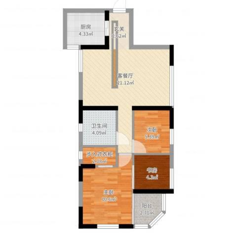海怡花园3室2厅1卫1厨69.00㎡户型图