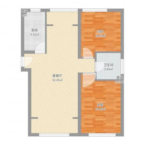 望京花园东区2室2厅1卫1厨64.45㎡户型图