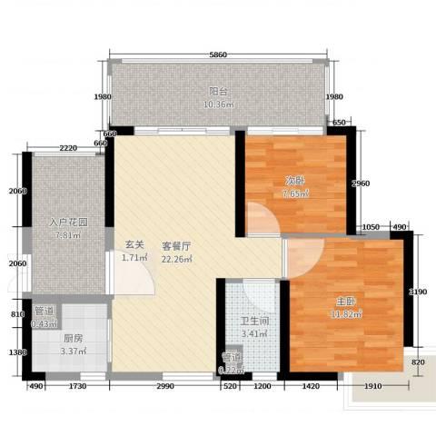 锦绣国际花城2室2厅1卫1厨84.00㎡户型图
