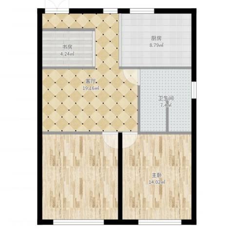 中海复兴九里2室1厅1卫1厨86.00㎡户型图