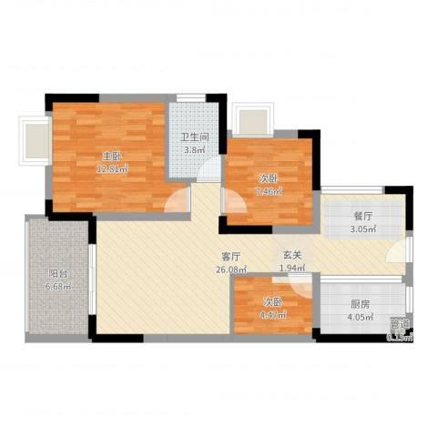 融科海阔天空二期3室1厅1卫1厨82.00㎡户型图