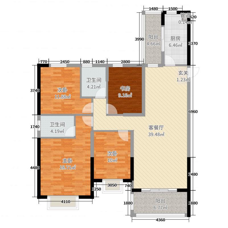 恒大绿洲144.58㎡17#楼2单元A户型4室4厅2卫1厨