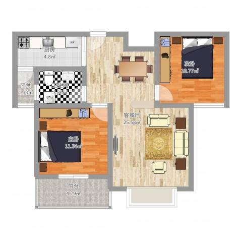 南阳藏珑2室2厅1卫1厨90.00㎡户型图