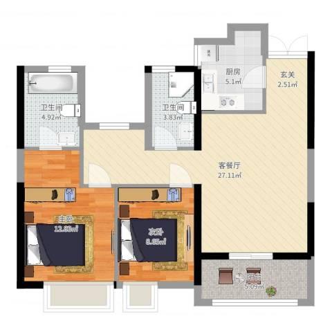 佳源巴黎都市2室2厅2卫1厨97.00㎡户型图
