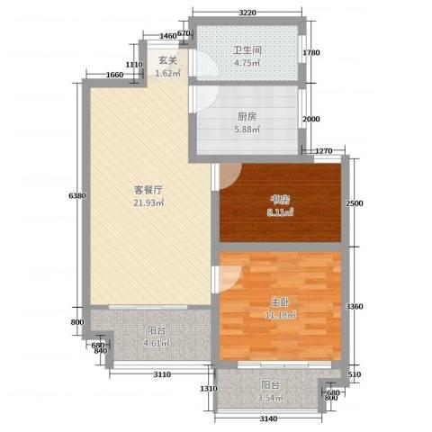 玫瑰园2室2厅1卫1厨76.00㎡户型图