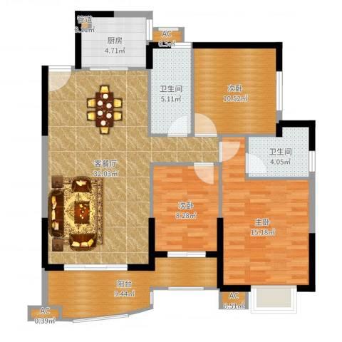 天湖城天源3室2厅2卫1厨114.00㎡户型图