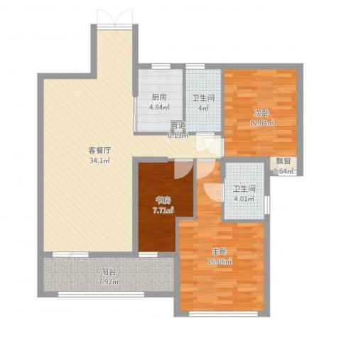 融汇江山3室2厅2卫1厨114.00㎡户型图
