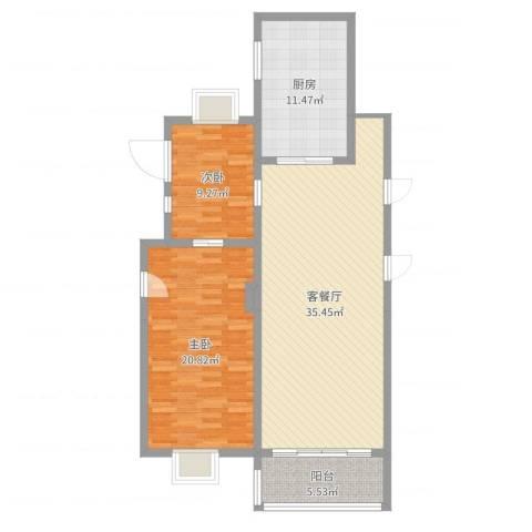 润达小区2室2厅1卫1厨103.00㎡户型图