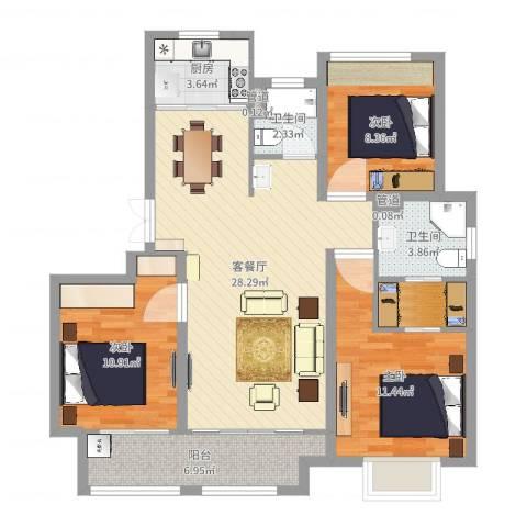 农房檀府3室2厅4卫2厨98.00㎡户型图