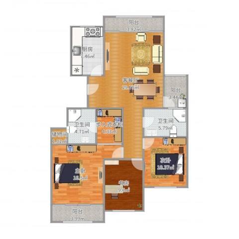 金象泰吉祥家园3室2厅2卫1厨126.00㎡户型图
