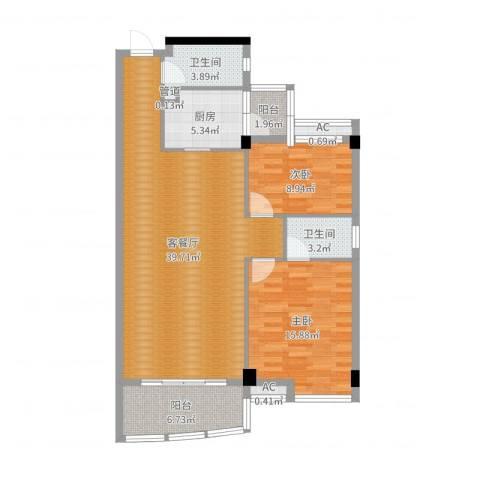 世纪康城2室2厅2卫1厨109.00㎡户型图