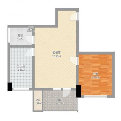 中骏天峰1室2厅1卫1厨73.00㎡户型图