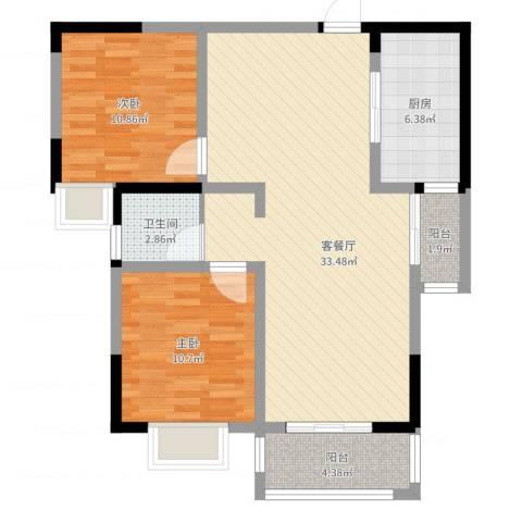 新华阳光国际2室2厅1卫1厨88.00㎡户型图
