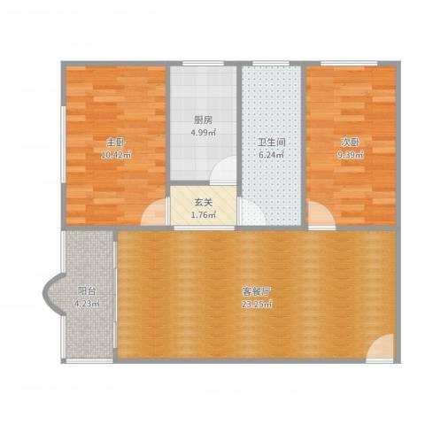 碧翠豪城嘉明楼2室2厅1卫1厨75.00㎡户型图