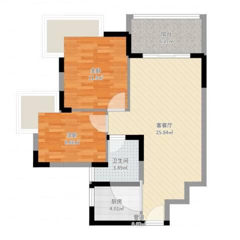 金色华庭二期2室2厅2卫1厨76.00㎡户型图