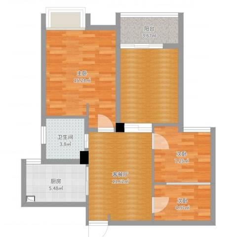 四明家园3室2厅1卫1厨81.00㎡户型图