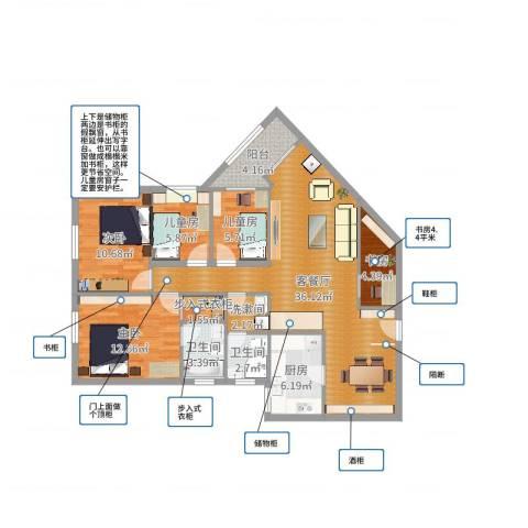 元洪花园5室2厅2卫1厨119.00㎡户型图