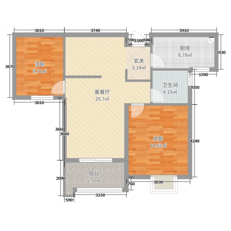 华润中心・悦锦湾88.00㎡一期8#13#15#B-2户型2室2厅1卫1厨