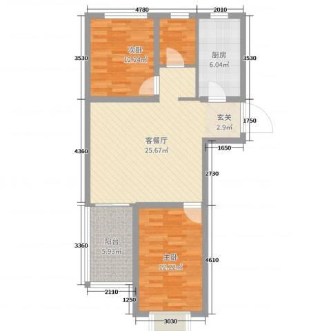 玫瑰园2室2厅0卫1厨78.00㎡户型图