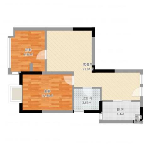 众兴华庭2室2厅1卫1厨63.00㎡户型图