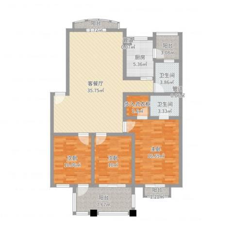 东湖花园3室2厅2卫1厨127.00㎡户型图