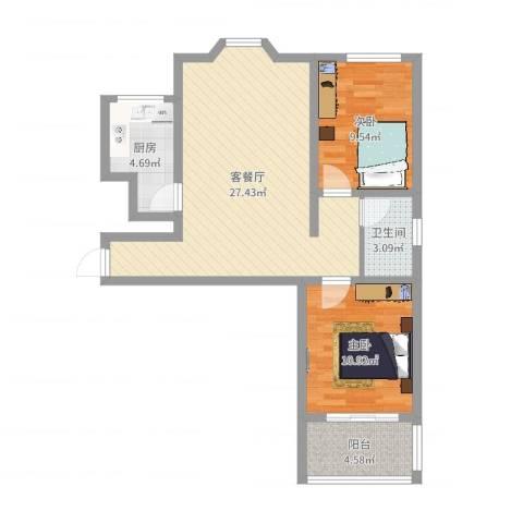 晨阳庄园2室2厅1卫1厨75.00㎡户型图