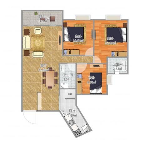 龙腾盛世3室1厅2卫1厨107.00㎡户型图