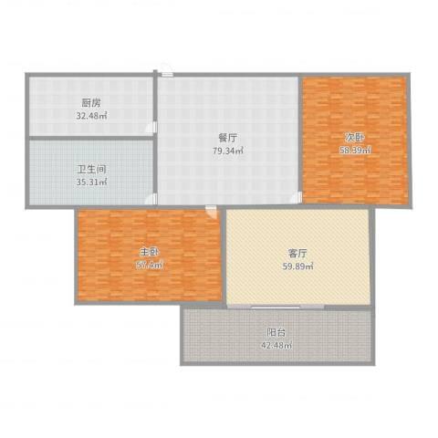 加州国际2室2厅1卫1厨457.00㎡户型图
