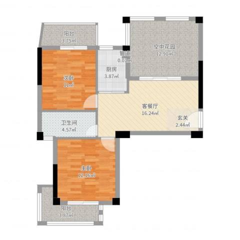 联发欣悦园2室2厅1卫1厨85.00㎡户型图