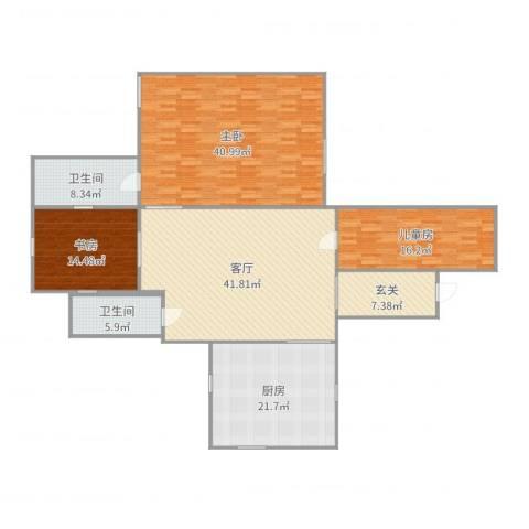 公正新苑3室1厅2卫1厨196.00㎡户型图