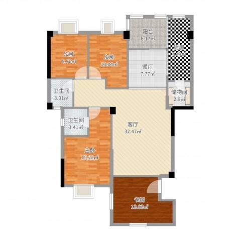 联发欣悦园4室2厅2卫1厨138.00㎡户型图