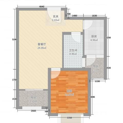 玫瑰园1室2厅1卫1厨61.00㎡户型图