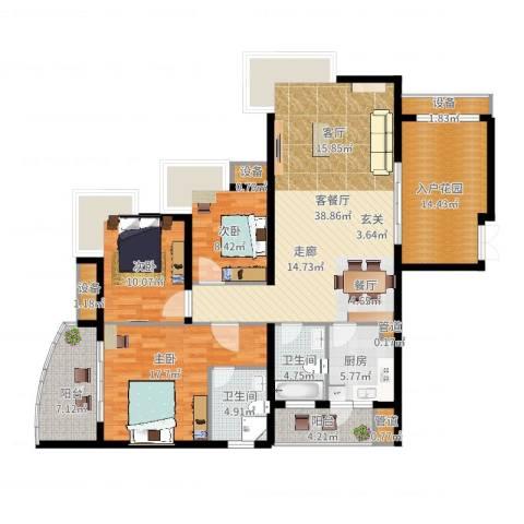 佳华世纪新城A区3室2厅2卫1厨172.00㎡户型图