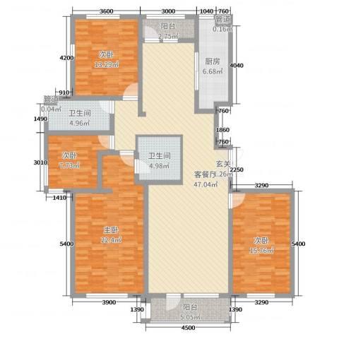 水岸花都4室2厅2卫1厨170.00㎡户型图