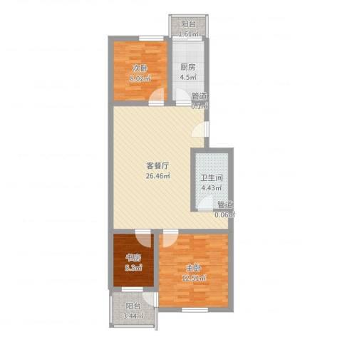 碧波园温泉家园3室2厅1卫1厨83.00㎡户型图