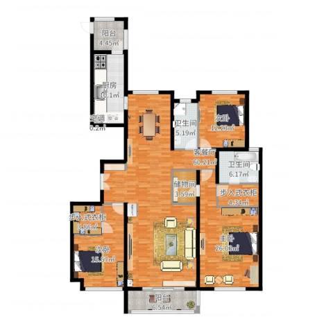 龙湾3室2厅2卫1厨198.00㎡户型图
