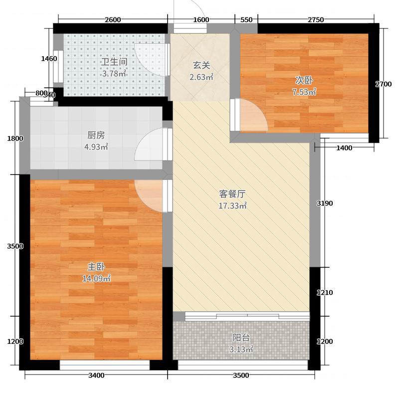 银海・泊岸69.00㎡F3-1户型2室2厅1卫1厨