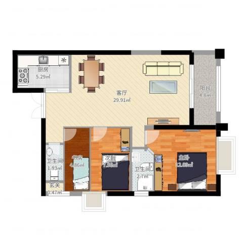 高盛金融中心3室1厅2卫1厨87.00㎡户型图